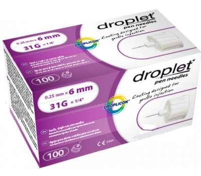 Иглы инсулиновые для шприц-ручек Droplet 6 мм, 100 шт