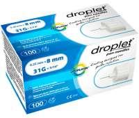 Голки інсулінові для шприц-ручок Droplet 8 мм, 100 шт