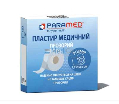 Медицинский пластырь-лента Paramed прозрачный 1,25 см х5 м.